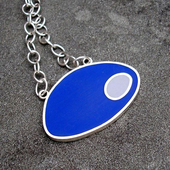 Resin and Sterling Silver Pod Necklace  Cobalt Blue by lsueszabo, $185.00
