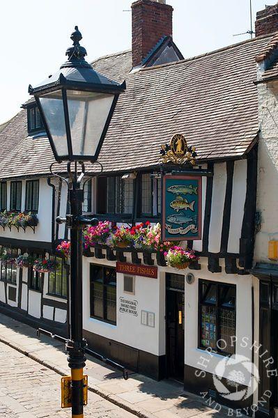 The 16th century Three Fishes Inn in Fish Street, Shrewsbury, Shropshire, England.