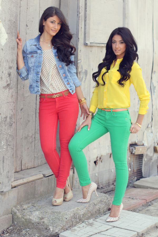 @Leyla Naghizada & Mimi Ikonn Luxy Hair in coloured jeans... LOVE THEM.