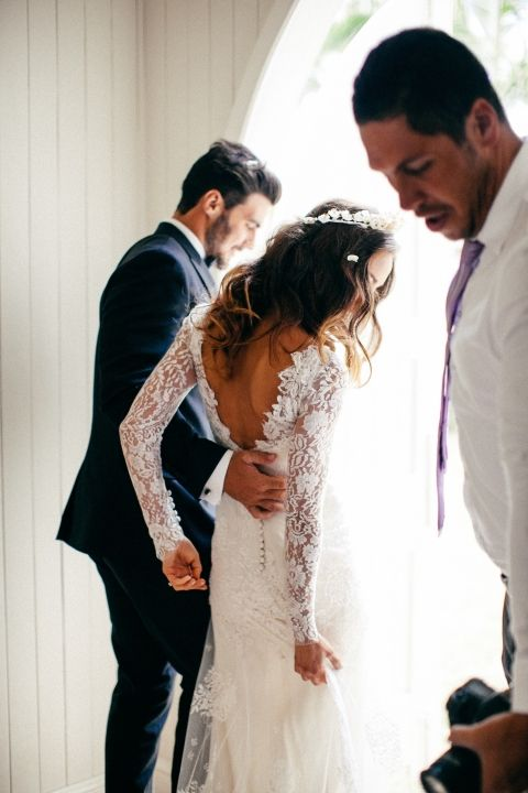 Long sleeve lace with a deep drop V back wedding dress