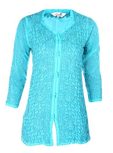 Ladies Tunic Top Kurti Indian Chikankari Hand Embroidery Women Summer dress * You can find more details by visiting the image link.