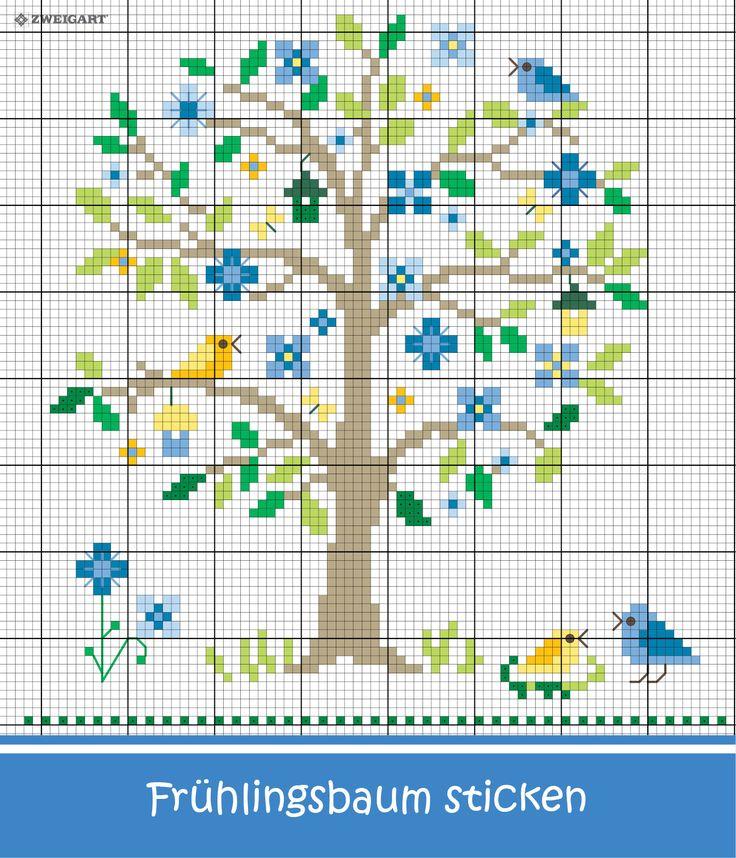 Frühlingsbaum mit Blumen und Vögeln sticken #Sticken #Kreuzstich / #Blume; #Embroidery #Crossstitch / #flower / #ZWEIGART