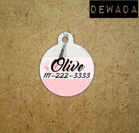 Personalized Pet id Tag Marble Pink