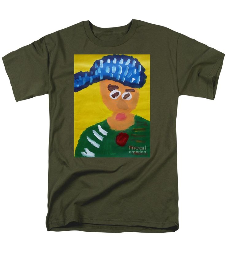 Patrick Military Green T-Shirt featuring the painting Portrait Of Camille Roulin 2015 - After Vincent Van Gogh by Patrick Francis