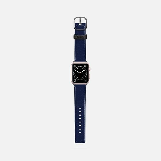 Casetify Apple Watch Band (42mm) Saffiano Leather Watch Band - DARK NAVY BLUE SUBTLE TEXTURE DAISY BEATRICE by Daisy Beatrice