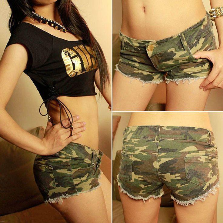 Sexy Women's Camouflage Jeans Shorts Hot Pants Denim Low Waist Fashion Shorts #GL #MiniShortShorts