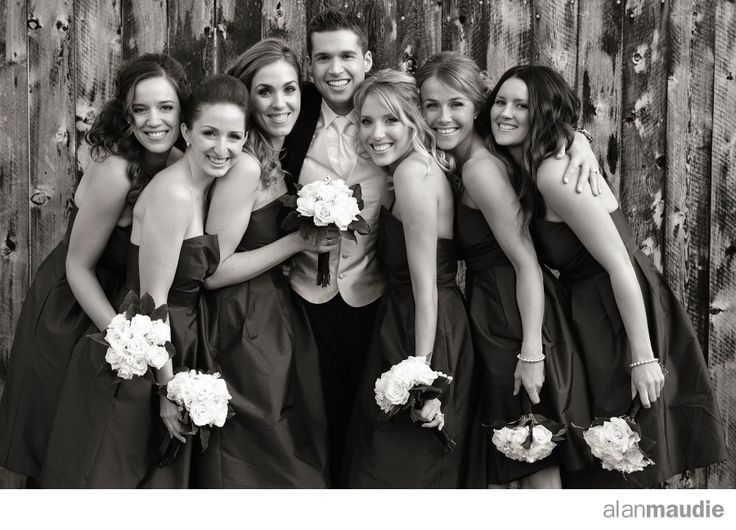 Groom with Bridesmaids, Calgary Wedding, Calgary Wedding Photographer
