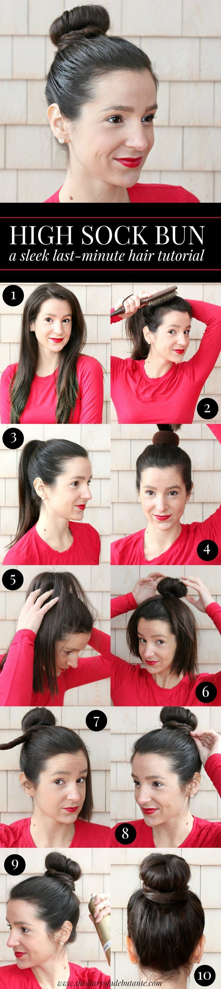 Sleek high sock bun hair tutorial. This quick and easy updo hairstyle works best with 2nd day hair and takes no more than 3 minutes with the right glosser paddle brush. #BunHairstylesBallet