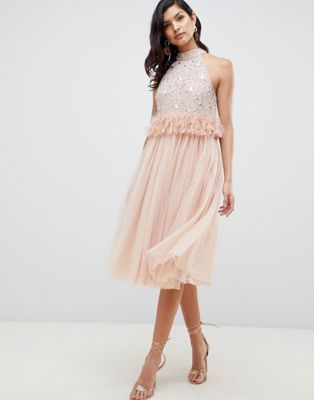 130d675f8196 ASOS DESIGN Embellished Sequin Tulle Midi Dress with Faux Feather Trim |  ASOS