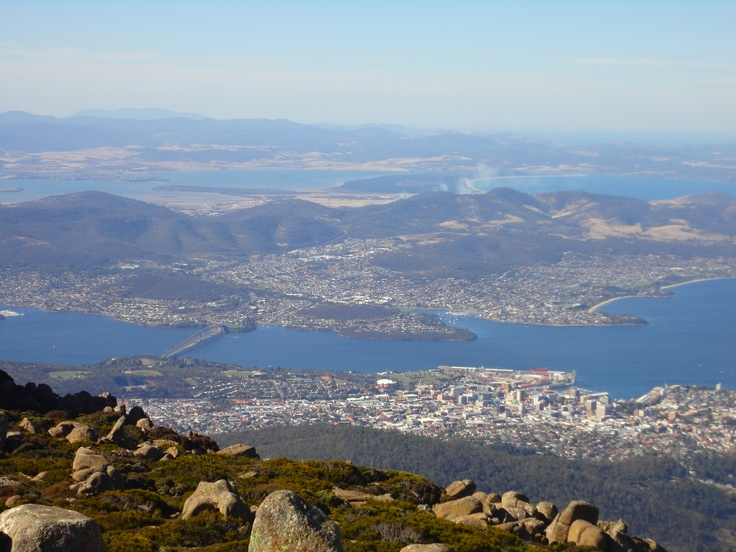 Mt Wellington - looking out over Hobart 1300m above sea level