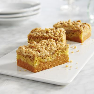 LIBBY'S® Easy Pumpkin Crumb Cake recipe combines pumpkin, cake mix and chopped nuts for a memorable dessert that is easy to prepare. To serve, cut into bars and top each serving with whipped topping, if desired.