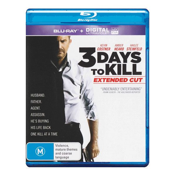 3 Days to Kill Blu-ray Brand New Region B Aust. - Kevin Costner