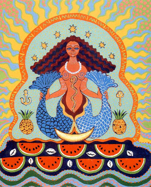 Yemaya Afro-Cuban Goddess from the Yoruba religion said to be the ocean, the essence of motherhood, and a protector of children. Blessed Mother