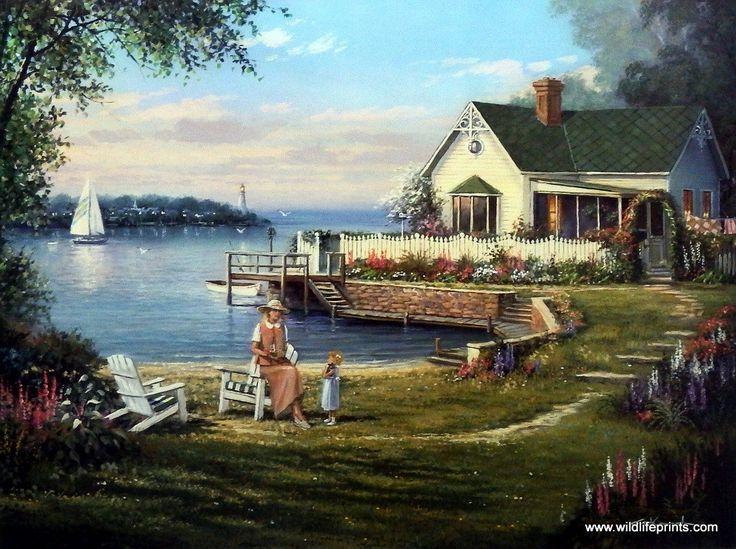 Artist George Kovach Unframed Flower Garden Print Cottage by the Bay | WildlifePrints.com