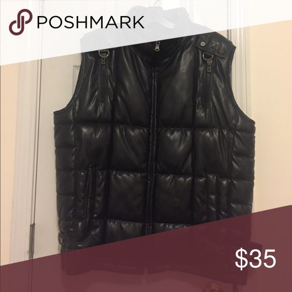 Black Faux Leather Sean Jean Vest Black Faux Leather , Great condition. Only worn a few times Sean John Jackets & Coats Puffers