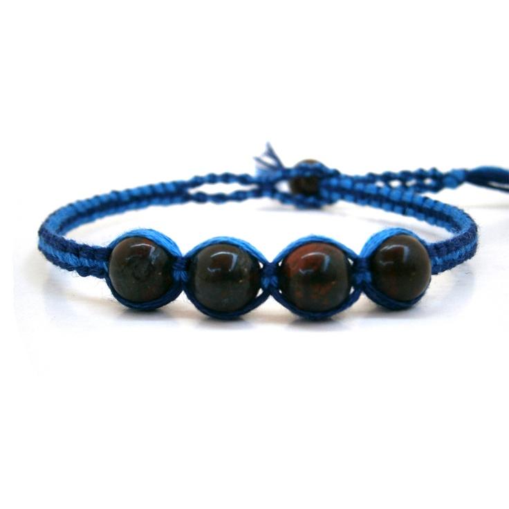 #Pulsera de la #Amistad mix #azul de #algodón con #Jaspe Brecc #Piedra #semipreciosa...