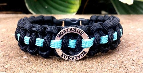 "550 PARACORD PROSTATE CANCER AWARENESS ""SURVIVOR"" BAND"