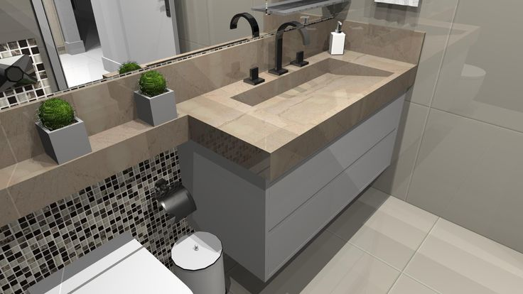 Móveis para Banheiro em MDF, puxador estilo Cava e Pia com cuba e -> Pia Para Banheiro Ipatinga