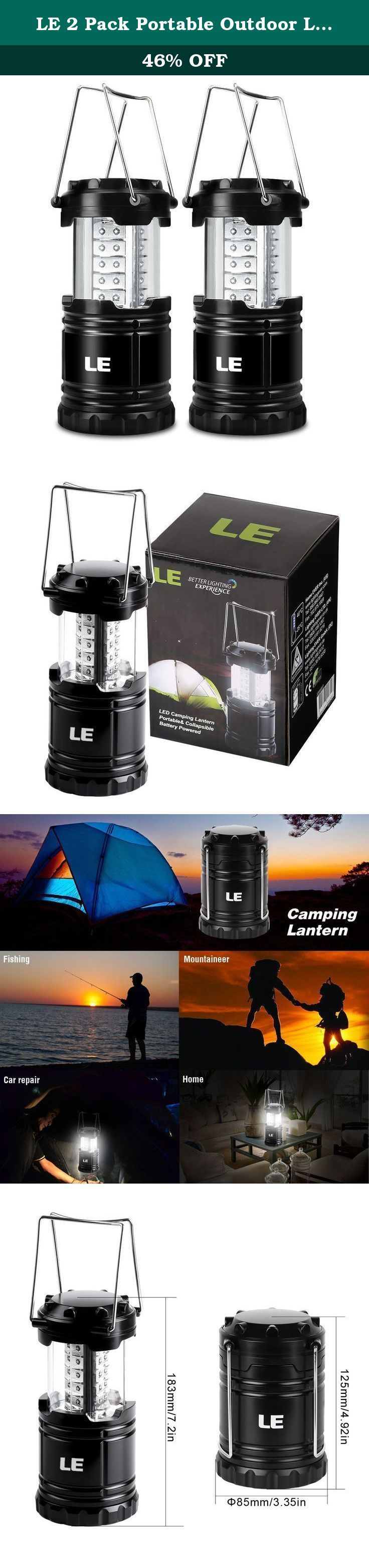 LE 2 Pack Portable Outdoor LED Camping Lantern, 30 LEDs, Battery Powered, Water Resistant, Home Garden Camping Lanterns for Hiking, Emergencies, Hurricanes (Black, Collapsible). Pack of 2 Units Flexible & Adjustable You don't have to find a button to press in the dark, all by a pulling to turn on/off the light. You can pull it up and it turns on, push it back down and it turns off or adjust the amount of light by how much you pull it up. Space saving Being collapsible, this little camping...
