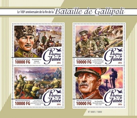 GU16102a Battle of Gallipoli (100th anniversary of the end of the Battle of Gallipoli of WW I, Mustafa Kemal Atatürk (1881-1938), soldiers of the British Empire during the battle of Gallipoli, soldiers of the Ottoman Empire defending their positions in Gallipoli, Ian Standish Monteith Hamilton (1853-1947))