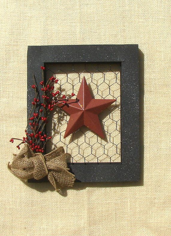 Picture  frame  with chicken wire burlap bow  and a star. on Etsy, $25.00