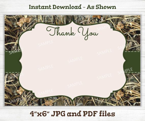 Camo Thank You Card Hunting Camouflage by MarysPartyDesigns
