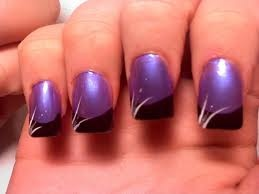 FRENCH black tipped purple with white simple side strokes
