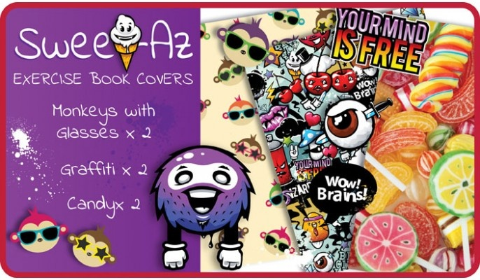 Sweet-Az School Exercise Book Covers (9x7) - 6 pack