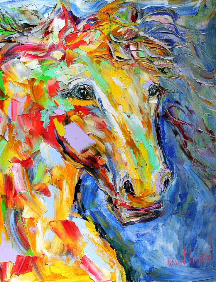 Original Equine Abstract Horse portrait whimsical by Karensfineart, $128.00