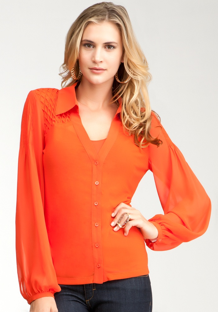 Hi-Lo Smock Button Up Blouse - Red Clay - Xs