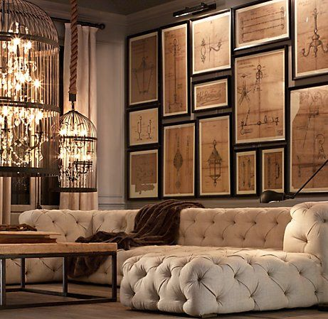 Yep! Love this piece too...another Restoration Hardware find. Very chic traditional styling with the tufted/button look, but also with the cool, modern styling because of the squared off edges and low back.    Price? Yep...starts out at a cool $12,995 and goes up to $17,295.