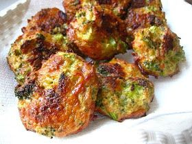 Broccoli Cheese Bites:  16 oz. package of frozen chopped broccoli, thawed and drained of liquid (or fresh steamed broccoli), 1 1/2 cup of grated cheddar cheese, 3 eggs, salt & pepper, 1 cup of seasoned Italian breadcrumbs ----- Mix all together in a large bowl.  With your hands, form small patties and lay on a parchment lined baking sheet.  Bake at 375F for 25 minutes, turning the patties after the first 15 minutes.  Let cool and enjoy!