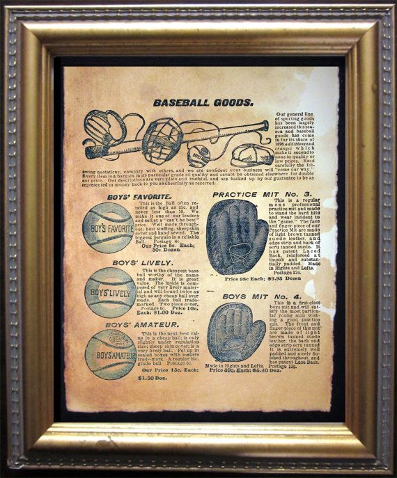 Vintage Baseball Goods Advertisement Ad Art by TeaStainedMadness, $14.99