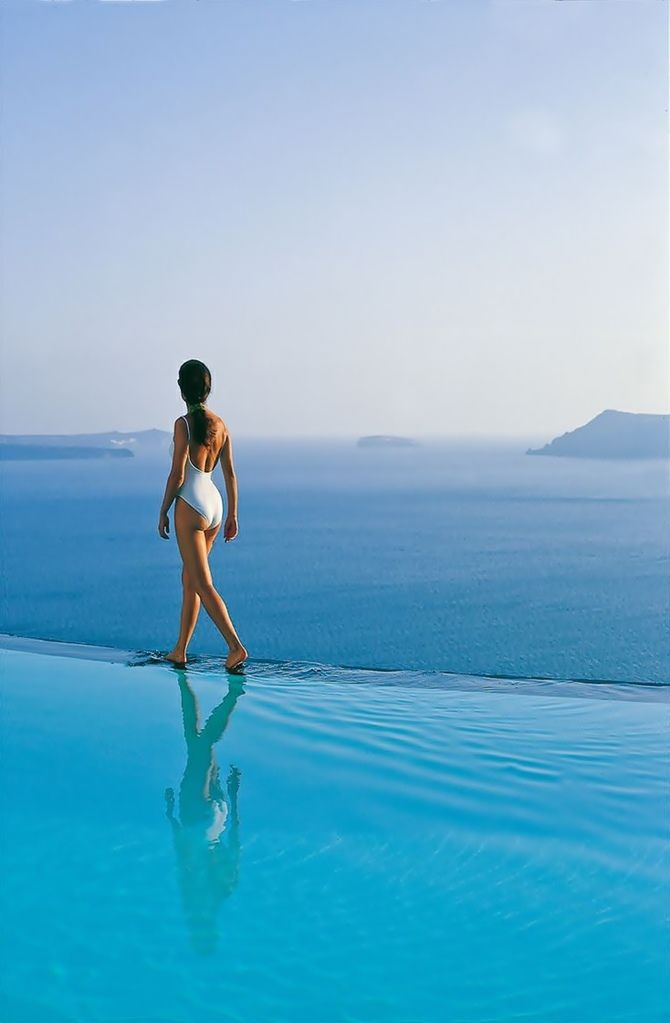 """One of the most beautiful pools of the world ~ """"Perivolas"""" Hotel in Santorini"""