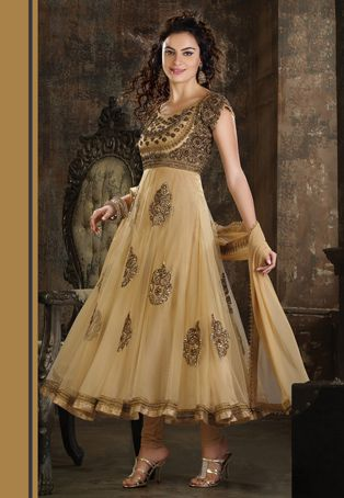 Beige Net Anarkali Readymade Churidar Kameez