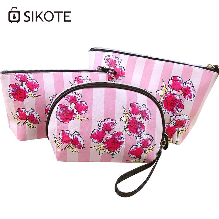 Portable Women's Cosmetic Bags Three pcs Set Fashion Pink Rose High Quality Storage Waterproof Washbag Makeup Bags For Mujer