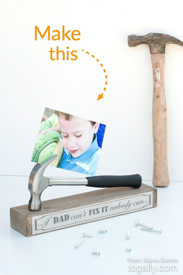 Your handyman will love this stand made from an old hammer, wood base, glue, and construction paper.