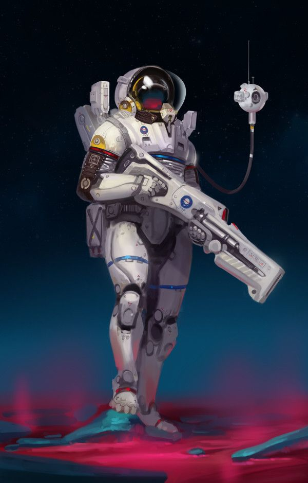 Space soldier with drone assistant, space opera / sci-fi inspiration