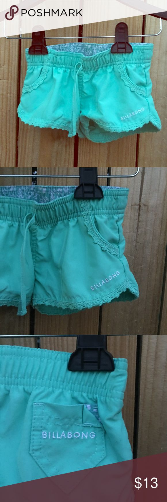 Billabong girls shorts sz: 5 Super cute, Billabong girls blue/green summer shorts sz: 5. Worn twice, like new condition with no flaws 💖 Billabong Bottoms Shorts