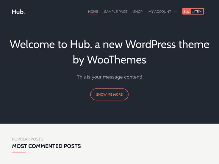 Hub is a theme for content writers. The homepage displays popular posts from all authors as well as other content in a distinctive minimalist style. Whether you're running your own blog network or just want to display your own content in beautiful fashion, Hub is the theme for you!