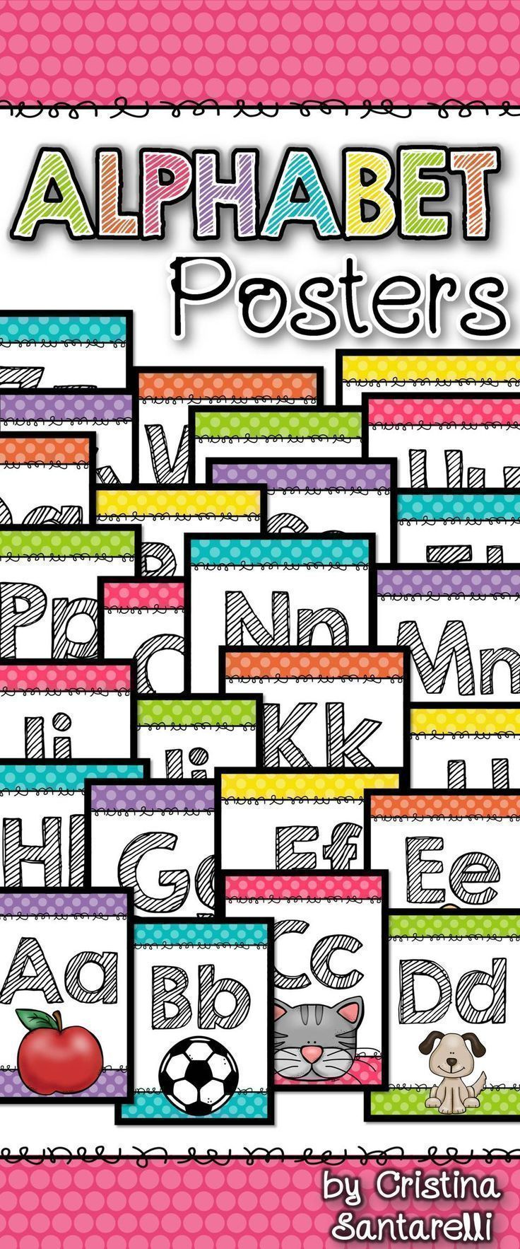 FREEBIE!!  Alphabet Posters includes 33 alphabet posters to display in your classroom!