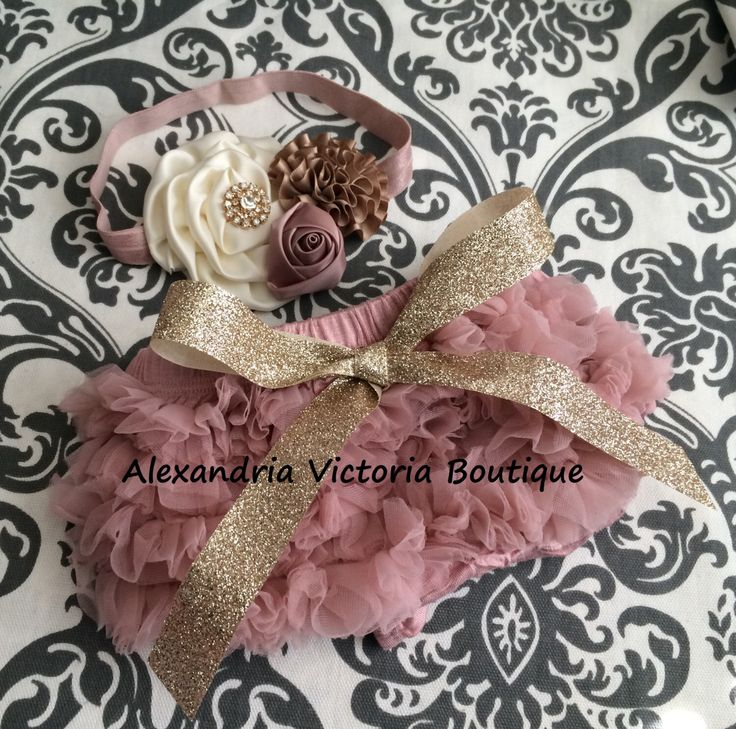 VINTAGE PINK  and GOLD bloomer set, vintage inspired baby headband and chiffon ruffle diaper cover, vintage pink, cream and gold. by AlexandriaVictoria on Etsy https://www.etsy.com/listing/235405671/vintage-pink-and-gold-bloomer-set