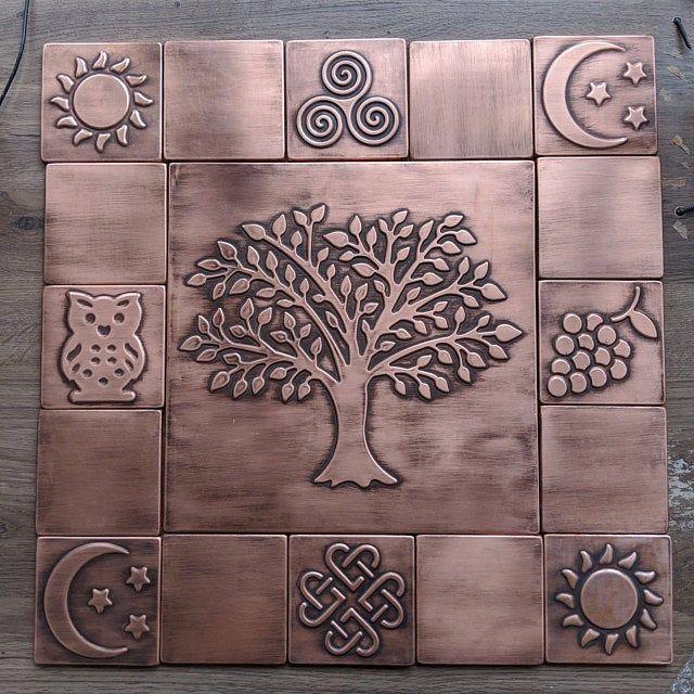 Beautiful Tree Of Life Set Of 13 Handmade Copper Tiles Etsy Copper Tiles Handmade Copper Handmade Tiles