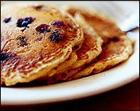 Hungry Girl's Very Blueberry Pancakes-- made with oatmeal and cottage cheese