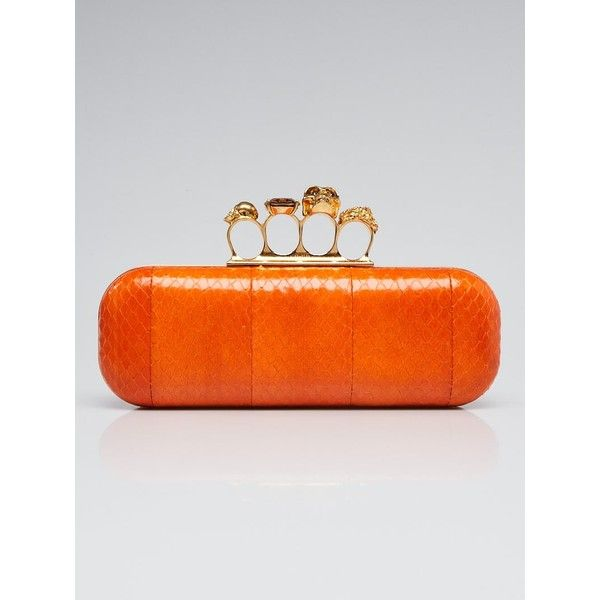 Pre-owned Alexander McQueen Orange Python Knuckle Box Clutch Bag ($725) ❤ liked on Polyvore featuring bags, handbags, clutches, skull box clutch, hard clutch, evening purses, orange clutches and crystal clutches