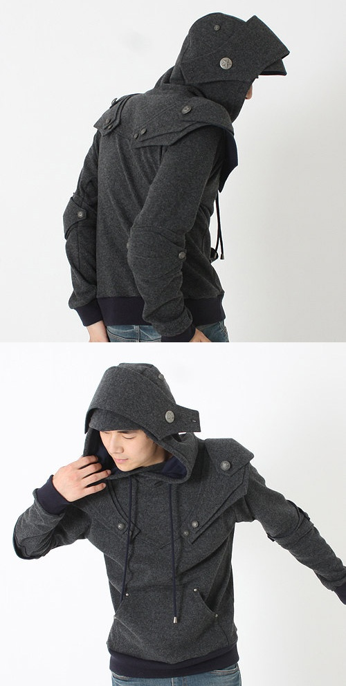 Knight Armor Hoodie in dark grey. I want so want this. I would be the coolest knight ever!