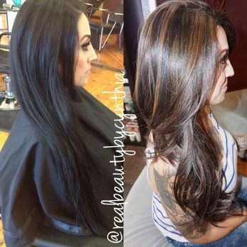 Before and after of one session going lighter this is only the beginning but as you can see most of the black is out from 1 time | Yelp