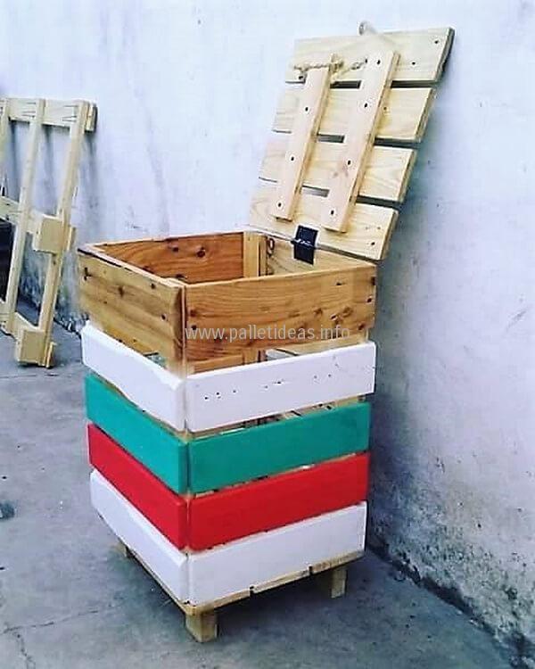 wood pallets trash can idea