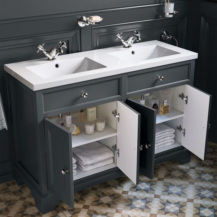 1200mm Loxley Charcoal Double Basin Vanity Unit Floor Standing Vanity Units Sink Vanity Unit Double Sink Vanity