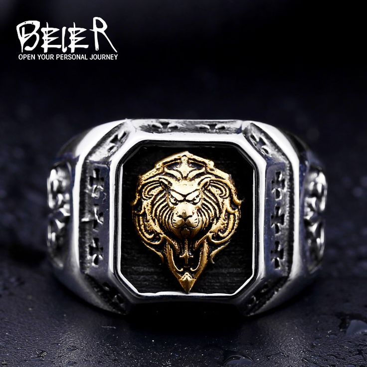 Beier new store 316L Stainless Steel ring top quality Gold Lion Head Rings fashion Jewelry BR8-389